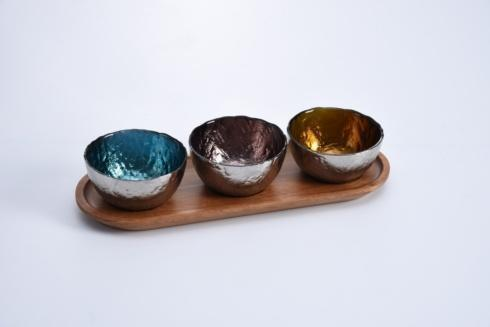 $37.50 Set Of 3 Colored Glass Bowls & Tray-4Pc.