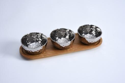 $50.00 Set of 3 Bowls On Acacia Wood Tray