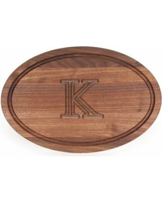 15 x 24 Oval Walnut monogrammed board without handles collection with 1 products