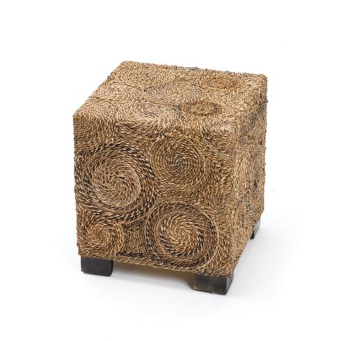 $129.75 Square raffia and wood stool