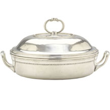 $750.00 Pewter Round Covered Casserole w/ pyrex insert