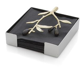 Olive Branch Napkin Holder Gold