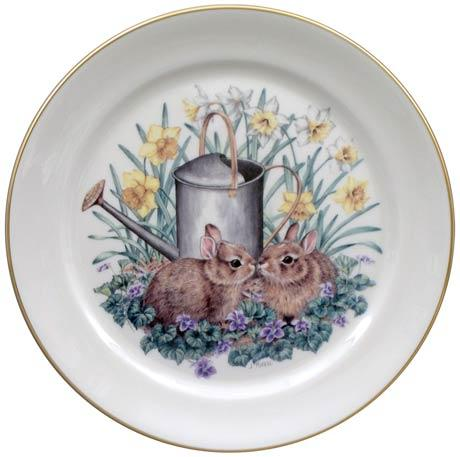 $14.40 Spring Bunnies with Watering Can Plate
