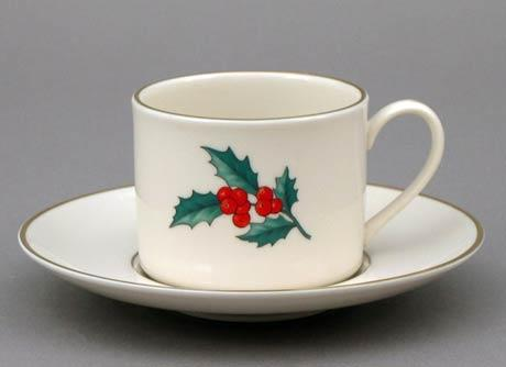 $36.00 Holly Cup and Saucer-Can Shape
