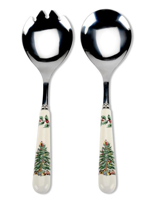 Spode Christmas Tree  Cutlery Set of 2 Salad Servers $19.00