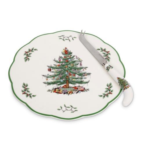 Spode Christmas Tree  Serveware/Giftware Appetizer Plate with Cheese Knife $26.50