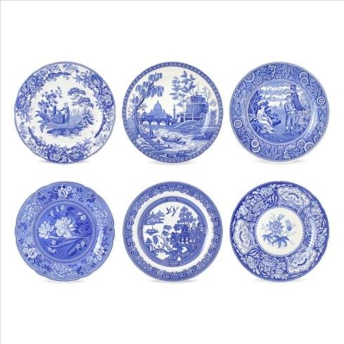 Spode  Blue Italian  Set of 6 Georgian Plates Assorted  (Blue Room) $105.00