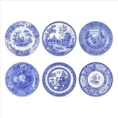 $105.00  Set of 6 Georgian Plates Assorted  (Blue Room)