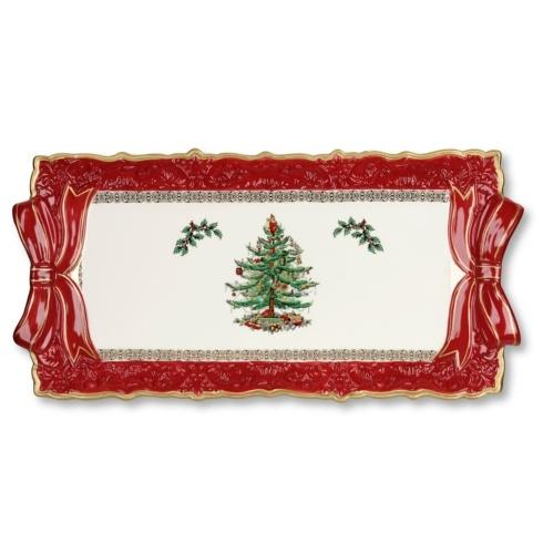 Spode  Christmas Tree Sandwich Tray w/ Red Ribbons $49.99