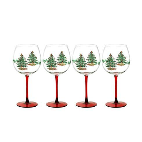 Spode Christmas Tree  Glassware Set of 4 Wine Goblets $39.99
