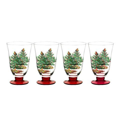 Spode Christmas Tree  Glassware Set of 4 Footed All Purpose Glasses $39.99