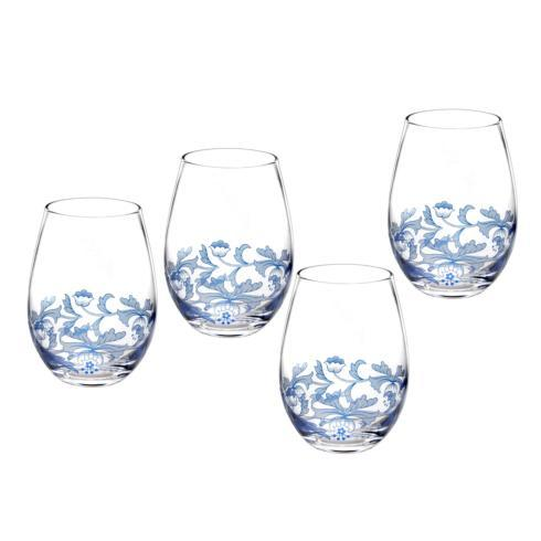 Spode  Blue Italian Set of 4 Stemless Glasses $39.99
