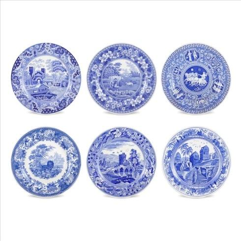 Spode  Blue Italian  Set of 6 Traditions Plates Assorted  (Blue Room) $105.00