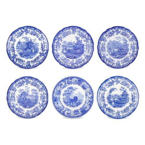 $105.00  Set of 6 Zoological Plates Assorted (Blue Room)