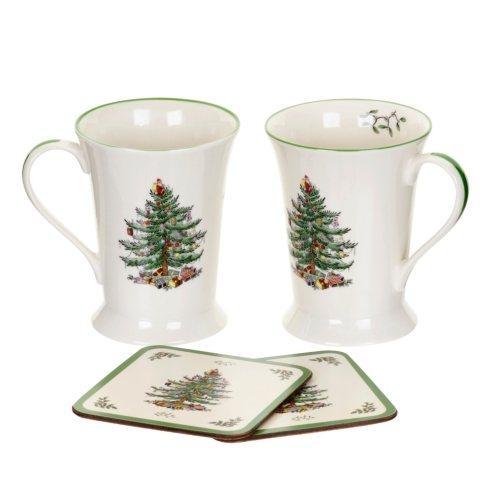 Christmas Tree Mugs & Coasters - Set of 2