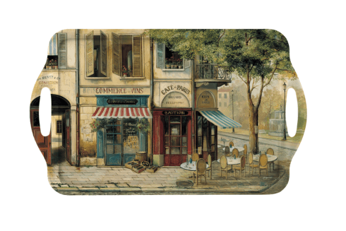 Parisian Scenes Large Melamine Handled Tray