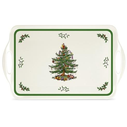 $20.00 Christmas Tree Large Melamine Handled Tray