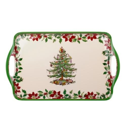 Spode Christmas Tree  Gifts & Accesories Large Melamine Tray with Handle(Poinsetta) $20.00