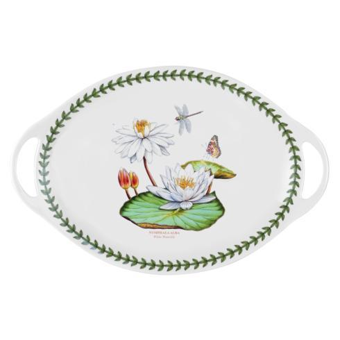 Large Oval Handled Platter with Water Lily Motif