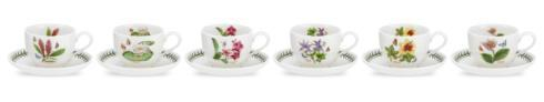$186.00 Set of 6 Assorted Motif Teacups and Saucers