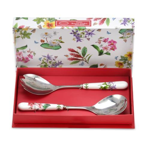 $19.00 Set of 2 Salad Servers with Dragonfly and Moth Orchid Motifs