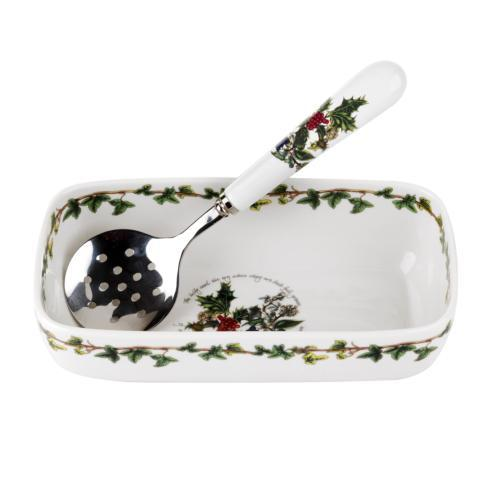 Cranberry Dish with Slotted Spoon