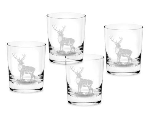 Spode Glenn Lodge Stag Set of 4 Double Old Fashioned Glasses $40.00