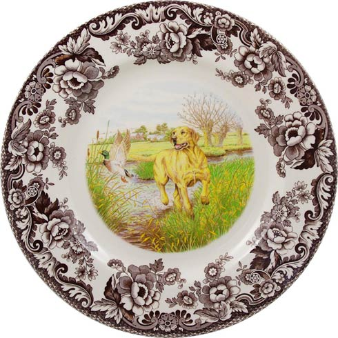 Spode Woodland Hunting Dogs Collection Dinner Plate 10.5 inch (Yellow Labrador Retriever) $37.00