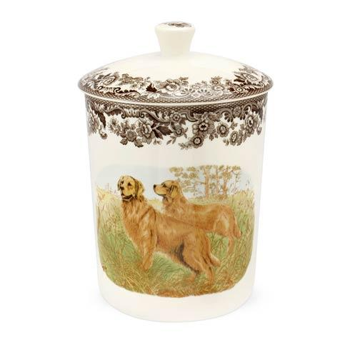 Spode Woodland Hunting Dogs Collection Golden Retriever Medium Canister $80.00
