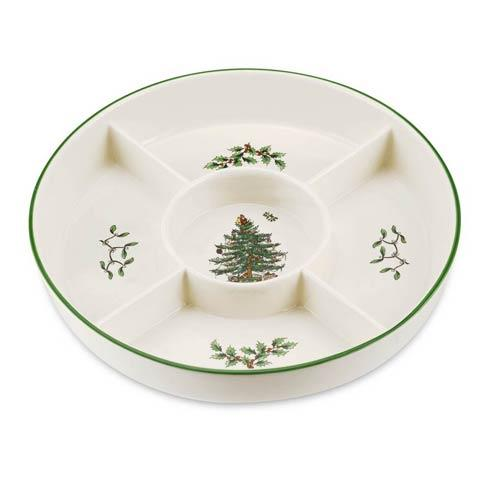 Spode Christmas Tree  Serveware/Giftware 5-Section Hors D\'oeuvres Low Platter $30.00