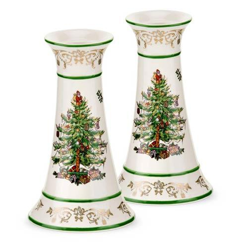 Spode Christmas Tree  Gold Collection Gold Collection Gold/Green Candlesticks, Medium Set of 2 $39.99