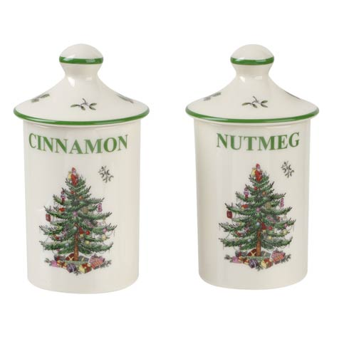 Spode Christmas Tree Bakeware 4.5 Inches Spice Jars - Set of 2 $19.99