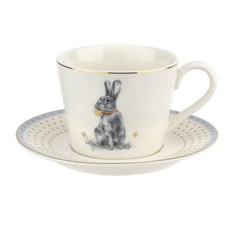 $12.99 8 oz Teacup & Saucer Blue
