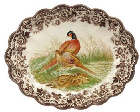 Spode Woodland Assorted Pheasant Oval Fluted Dish $107.20