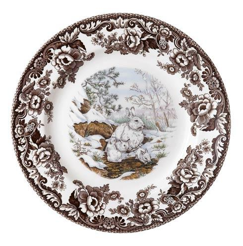 Spode Woodland American Wildlife Collection Snow Rabbit Dinner Plate $37.00