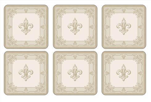 $15.00 FDC-Fleur de Lys, Taupe/Gold Coasters - Set of 6