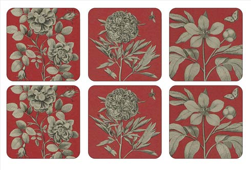 $15.00 Sanderson Etchings and Roses Red Coasters - Set of 6