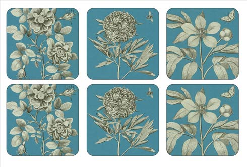 $15.00 Sanderson Etchings and Roses Blue Coasters - Set of 6