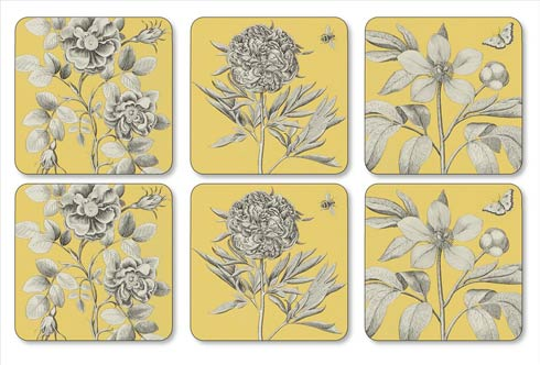 $15.00 Sanderson Etchings and Roses Yellow Coasters - Set of 6