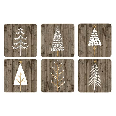 $15.00 Wooden White Christmas Coasters 4.25 Inch Square - Set of 6