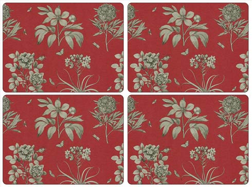 $40.00 Sanderson Etchings and Roses Red Placemats - Set of 4