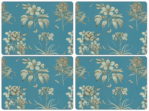 $40.00 Sanderson Etchings and Roses Blue Placemats - Set of 4