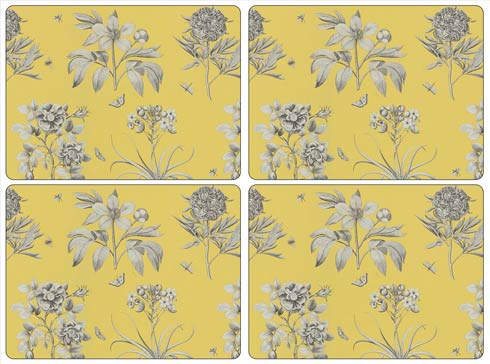 $40.00 Sanderson Etchings and Roses Yellow Placemats - Set of 4