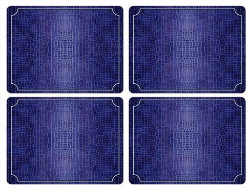 $40.00 Blue Croc Leather Placemats - Set of 4