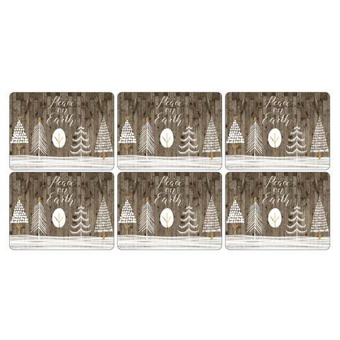 $40.00 Wooden White Christmas Placemats - Set of 4