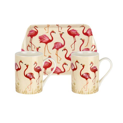 $25.00 Sara Miller London for The Flamingo Collection Mugs and Tray - Set of 2