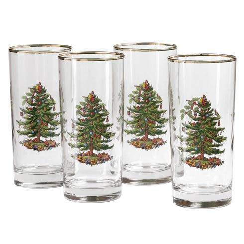 Spode Christmas Tree  Glassware Set of 4 Highball Glasses $80.00