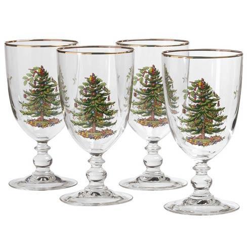 Spode Christmas Tree  Glassware Set of 4 Pedestal Goblets  $39.99