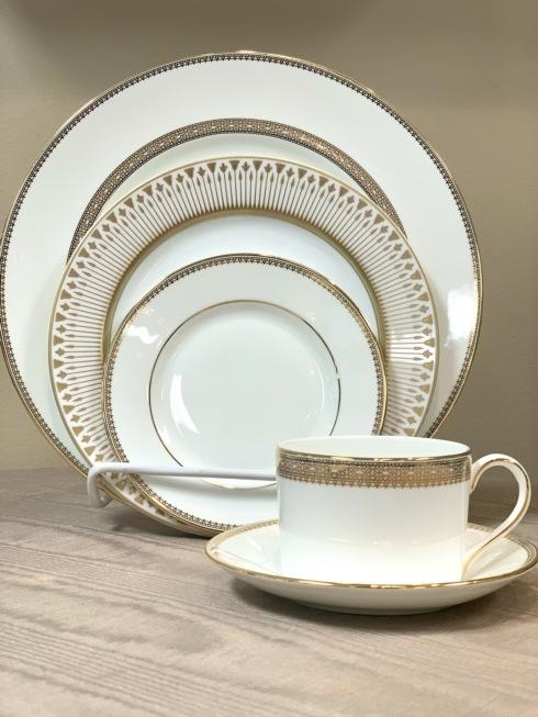 Pieces of Eight Exclusives   Vera Lace Gold with Soleil Levant 5 Piece Place Setting $208.00