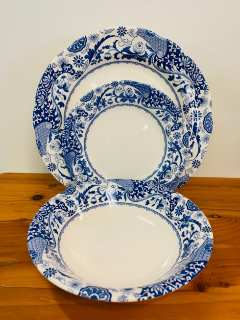 Pieces of Eight Exclusives   Blue Italian Brocato by Spode Three Piece Place Setting  $50.00